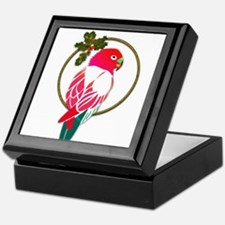Tropical Christmas Parrot in Red and Keepsake Box