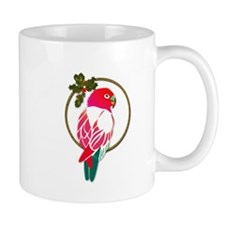 Tropical Christmas Parrot in Red and Green Mugs