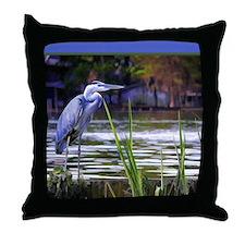 Blue Heron Sketch Throw Pillow