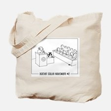 border collie on trial with sheep jury Tote Bag