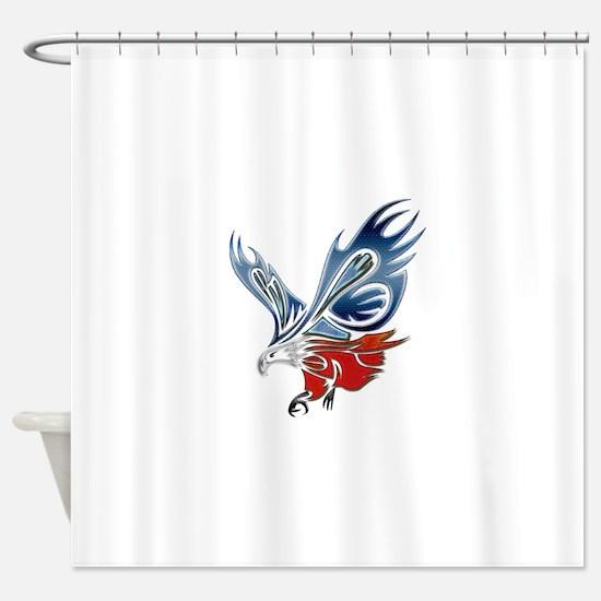Metallic Grunge Eagle Tattoo Shower Curtain
