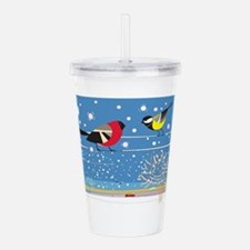 Winter Birds on a Wire Acrylic Double-wall Tumbler