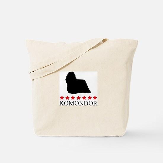 Komondor (red stars) Tote Bag