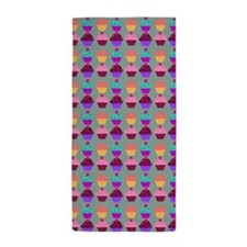 Yummy Sweet Cupcake Pattern Beach Towel