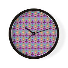 Yummy Sweet Cupcake Pattern Wall Clock