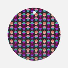 Yummy Sweet Cupcake Pattern Ornament (Round)