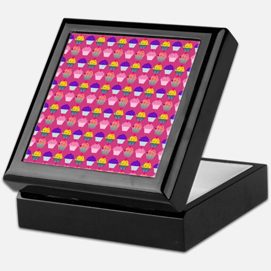 Yummy Sweet Cupcake Pattern Keepsake Box