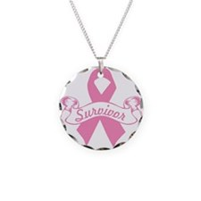 breast cancer survivor Necklace Circle Charm