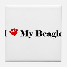 beagle love Tile Coaster