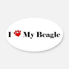 beagle love Oval Car Magnet