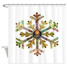Sparkly Art Snowflake Shower Curtain