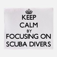 Keep Calm by focusing on Scuba Diver Throw Blanket