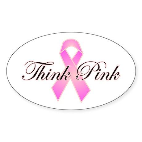 Think Pink Oval Sticker