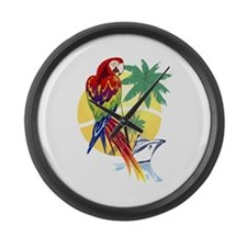 Tropical Paradise with Macaw and Large Wall Clock