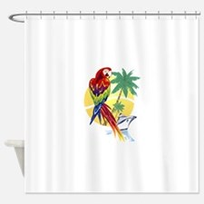 Tropical Paradise with Macaw and Cr Shower Curtain