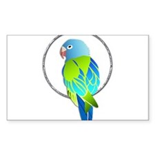 Tropical Blue and Green Parrot in Silver R Decal
