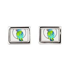Tropical Blue and Green Parr Rectangular Cufflinks