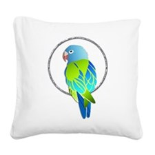 Tropical Blue and Green Parro Square Canvas Pillow