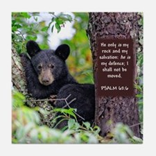 Baby Black Bear - Psalms 62-6 Tile Coaster