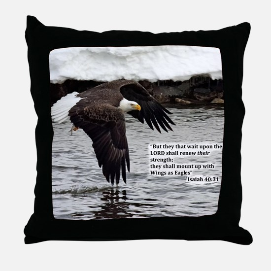 Wings of Eagles with Isaiah 40:31 Throw Pillow