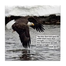 Wings of Eagles with Isaiah 40:31 Tile Coaster