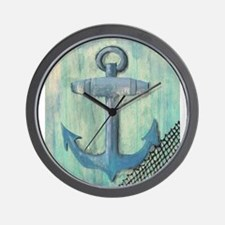 Anchor on Blue Background Wall Clock
