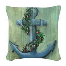 Anchor and Garland Woven Throw Pillow