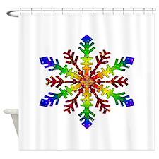 Rainbow Stars Snowflake Shower Curtain