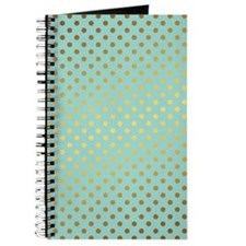 Mint and Gold Polka Dots Pattern Journal