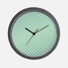 Mint and Gold Polka Dots Pattern Wall Clock