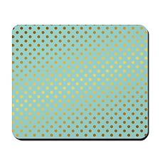 Mint and Gold Polka Dots Pattern Mousepad