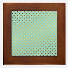 Mint and Gold Polka Dots Pattern Framed Tile