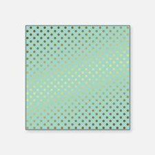 Mint and Gold Polka Dots Pattern Sticker