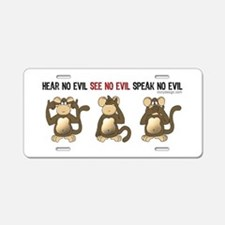 Hear No Evil monkeys Aluminum License Plate