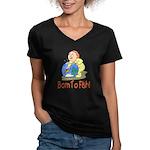 Born To Fish Women's V-Neck Dark T-Shirt
