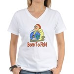 Born To Fish Women's V-Neck T-Shirt