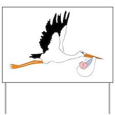 Stork delivering a Baby Yard Sign