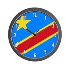 Flag of the DR Congo Wall Clock