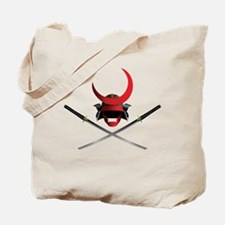 Samurai Helmet and Swords Tote Bag