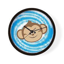 Monkey Face Blue Wall Clock