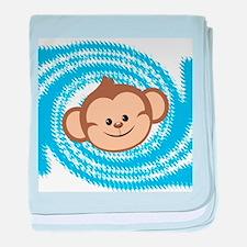 Monkey Face Blue baby blanket