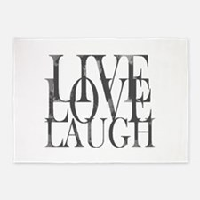 Live Love Laugh Inspirational Quote 5'x7'Area Rug