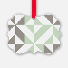 Sage Green and Silver Geometric C Ornament