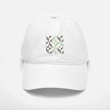Sage Green and Silver Geometric Cube Pattern Baseball Baseball Cap