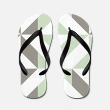 Sage Green and Silver Geometric Cube Pa Flip Flops