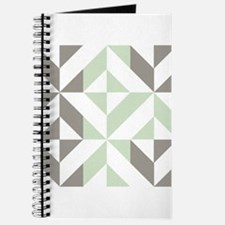 Sage Green and Silver Geometric Cube Patte Journal