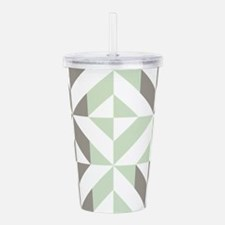 Sage Green and Silver Acrylic Double-wall Tumbler