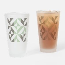 Sage Green and Silver Geometric Cub Drinking Glass