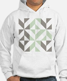 Sage Green and Silver Geometric Hoodie