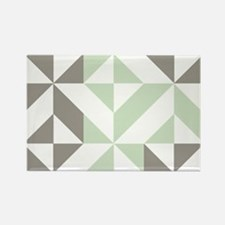 Sage Green and Silver Geometric C Rectangle Magnet